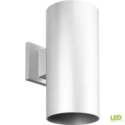 1-Light White Integrated LED 12 in. Outdoor Wall Mount Cylinder Light