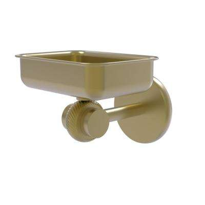 Satellite Orbit 2-Collection Wall Mounted Soap Dish with Twisted Accents in Satin Brass