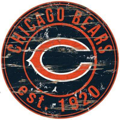 """24"""" NFL Chicago Bears Round Distressed Sign"""