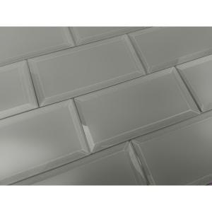 abolos gray subway rectangle 3 in. x 6 in. matte glass