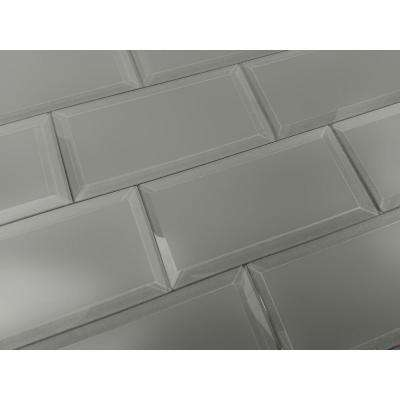 3 in. x 6 in. Frosted Elegance Josephine Gray Matte Glass Peel and Stick Wall Tile Sample