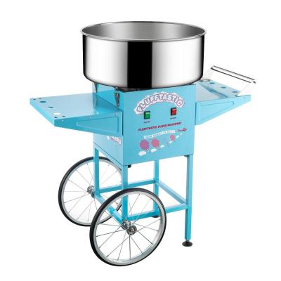 Blue Cotton Candy Machine and Cart- Flufftastic Floss Maker- Stainless Steel Pan, 2 Side Trays & 13 in. Wheels