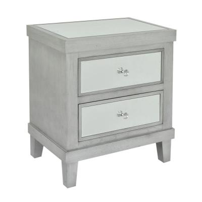 22.25 in. x 15.5 in. Gray Wood/Mirror Cabinet- 2-Drawers