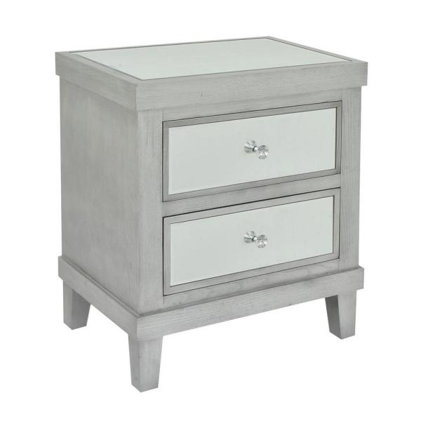 THREE HANDS 22.25 in. x 15.5 in. Gray Wood/Mirror Cabinet- 2-Drawers