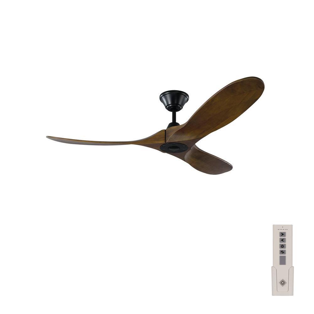 Maverick II 52 in. Indoor/Outdoor Matte Black Ceiling Fan with Dark Walnut Balsa Blades, DC Motor and Remote Control