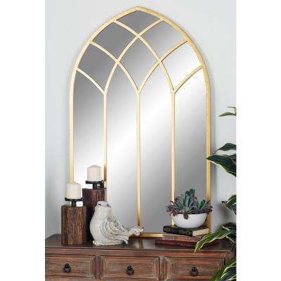 Arched Gold Decorative Mirror with Geometric Overlays