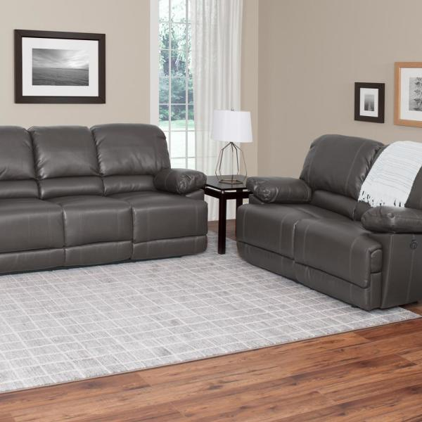 CorLiving Lea 2-Piece Brownish Grey Bonded Leather Power Recliner ...