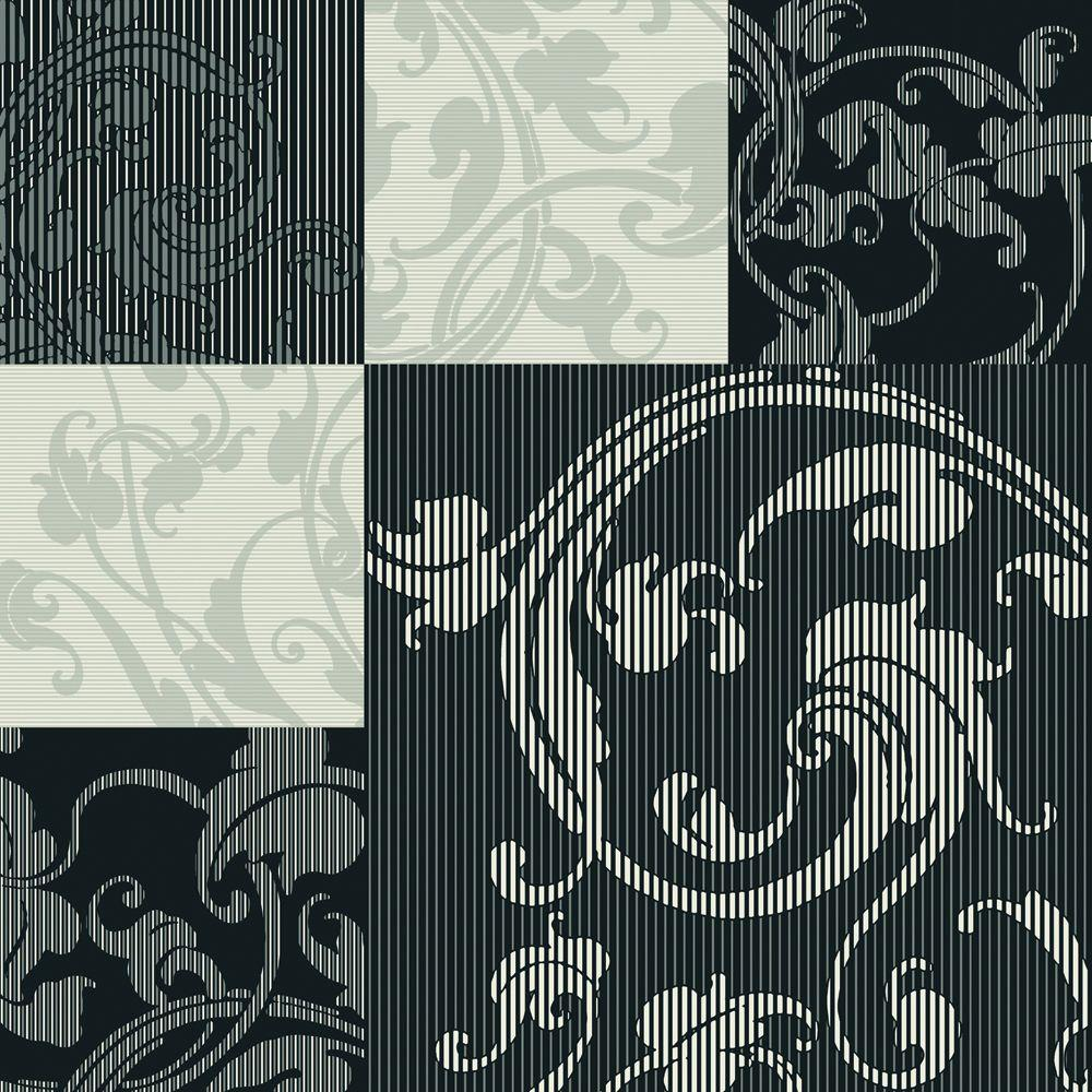 The Wallpaper Company 56 sq. ft. Black and Grey Stylized Squares Overprinted with Classic Acanthus Leaves Wallpaper