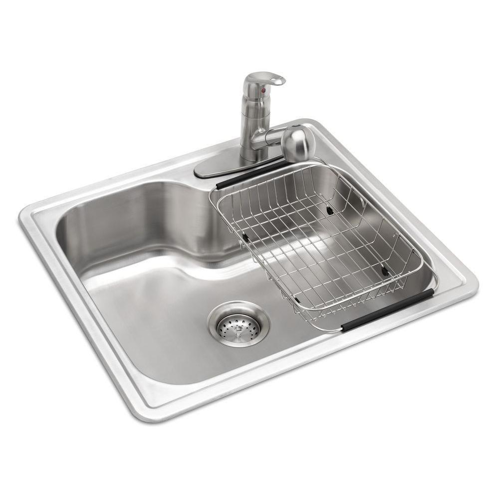 Single drop in kitchen sinks kitchen sinks the home depot all in one drop in stainless steel 25 in 3 hole workwithnaturefo