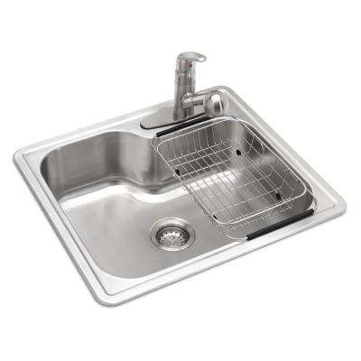 All-in-One Drop-in Stainless Steel 25 in. 3-Hole Single Bowl Kitchen Sink