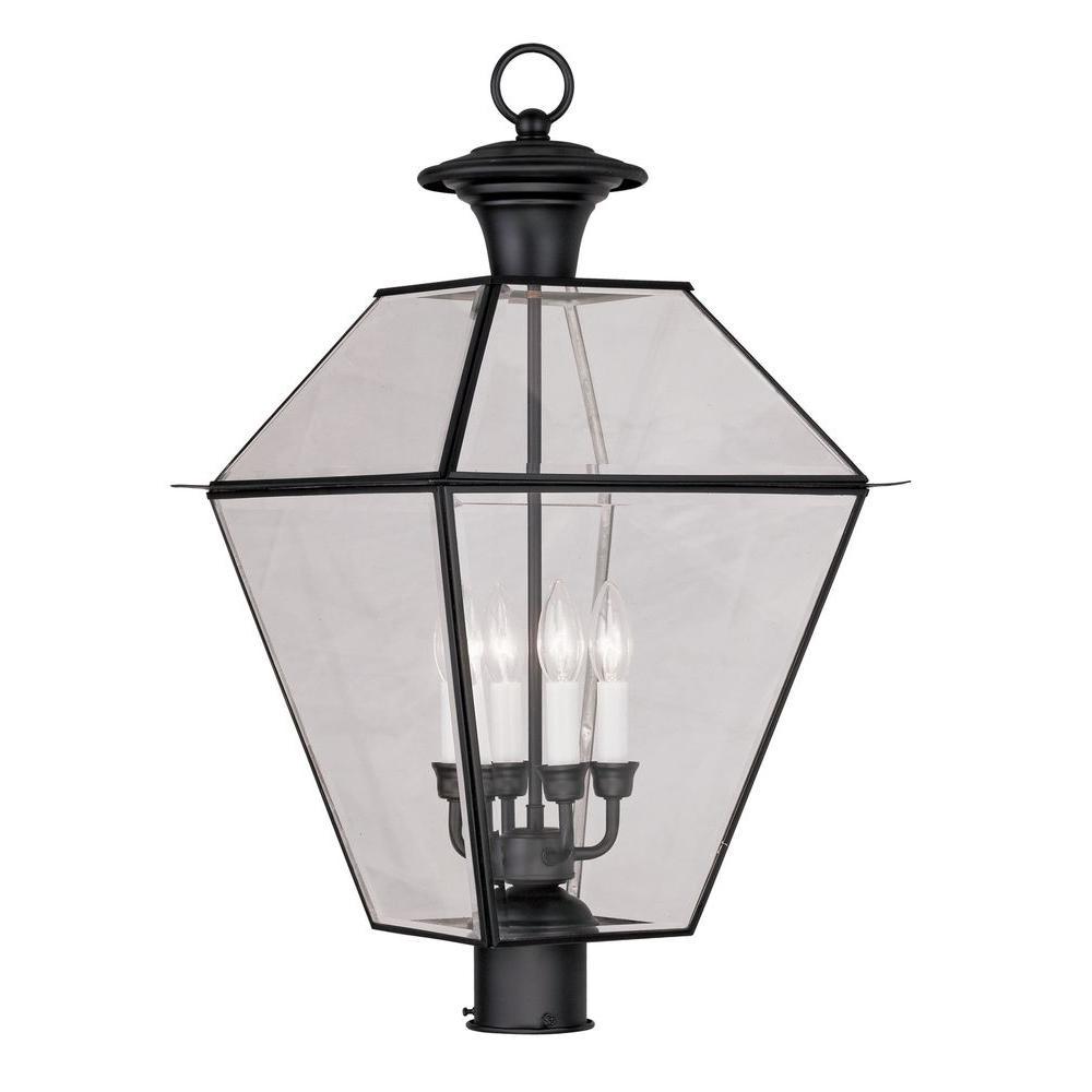 Providence 4-Light 15 in. Black Outdoor Post Head Lantern