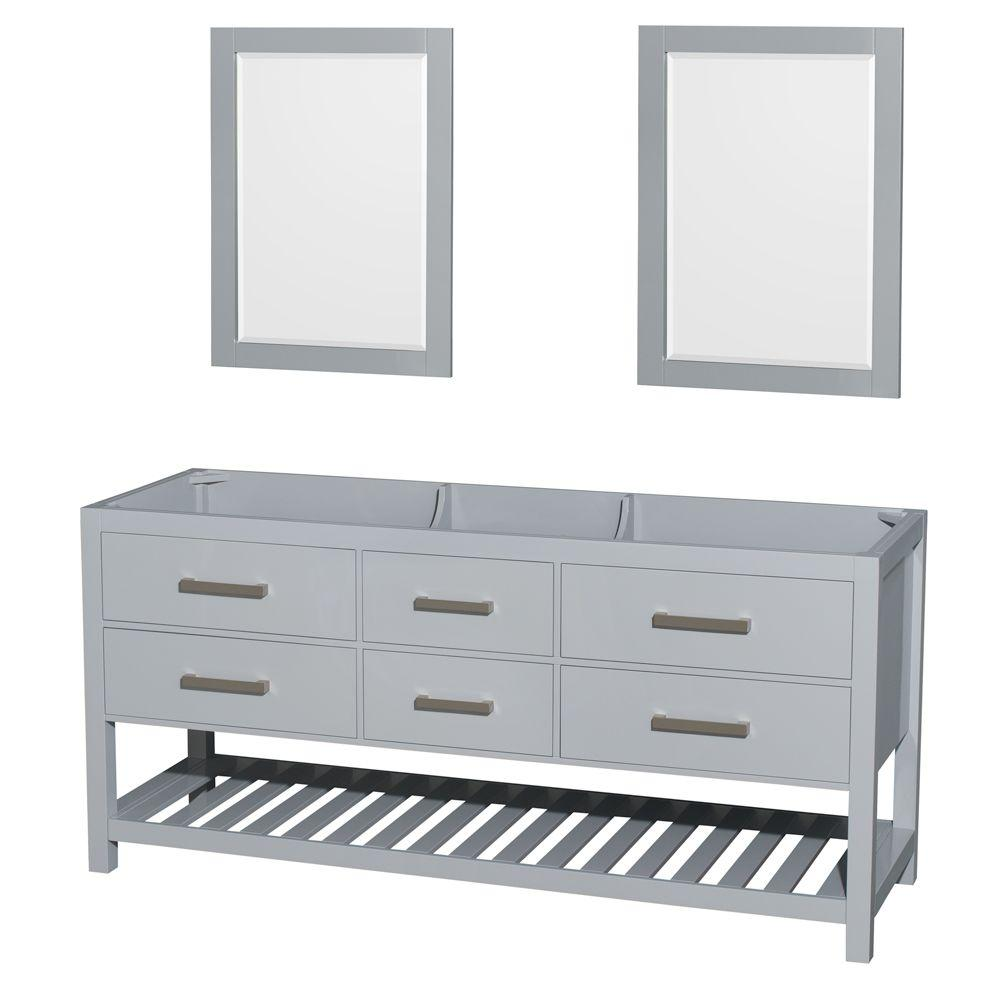 Genial Wyndham Collection Natalie 72 In. Vanity Cabinet With Mirrors In Gray