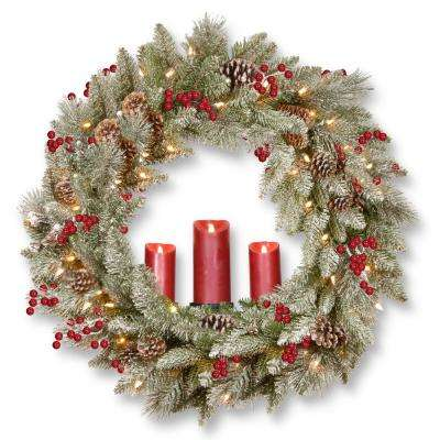 36 in. Feel Real Snowy Bristle Wreath with 100 Battery Operated LED Lights, 3 Red Electronic Candles, Berries and Cones