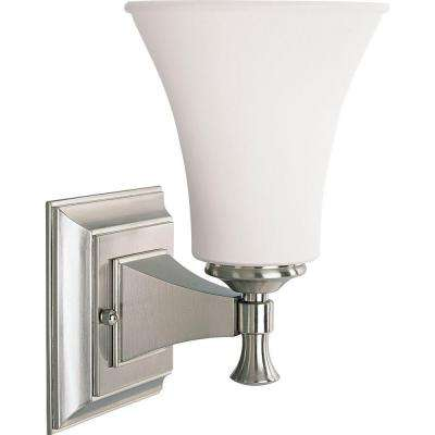Fairfield Collection 1-Light Brushed Nickel Bath Sconce with Opal Etched Glass Shade