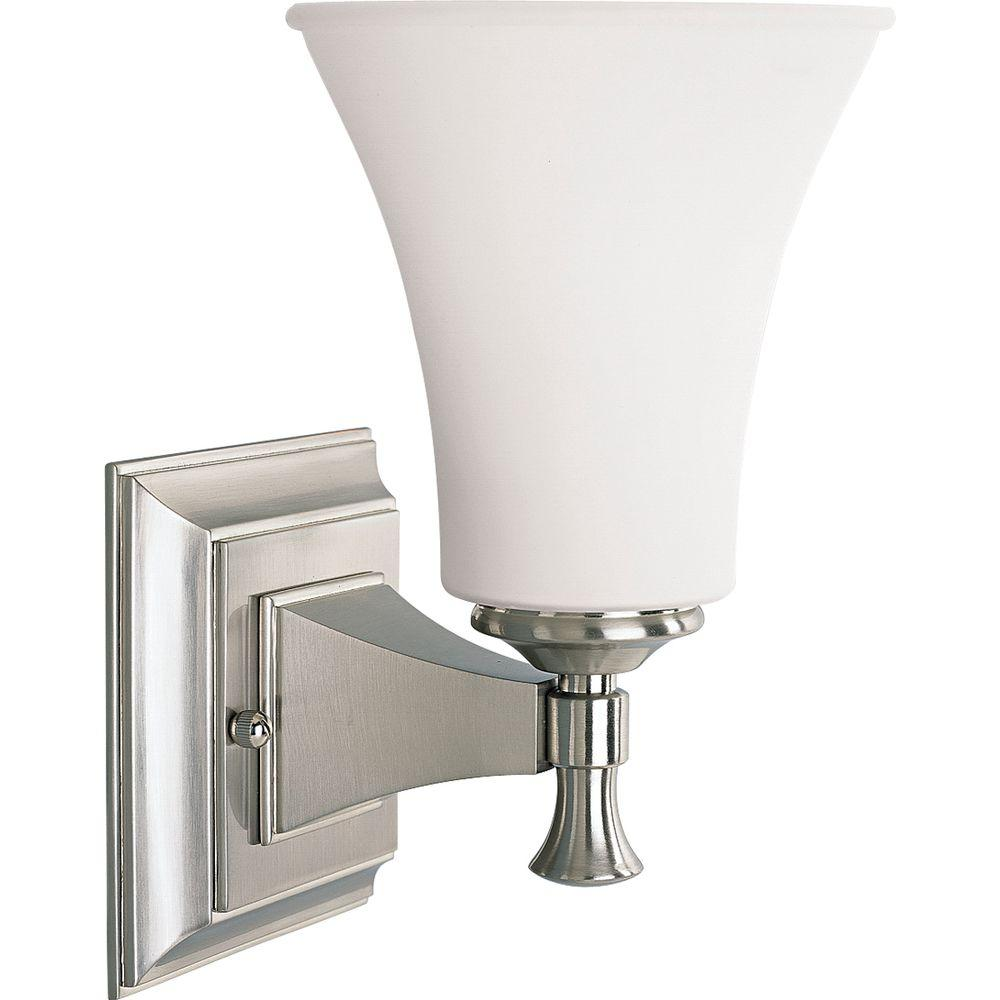 Progress Lighting Fairfield Collection 1 Light Brushed Nickel Bath Sconce With Opal Etched Glass
