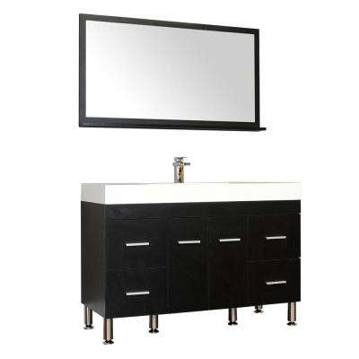 The Modern 47 in. W x 19.5 in. D Bath Vanity in Black with Acrylic Vanity Top in White with White Basin and Mirror