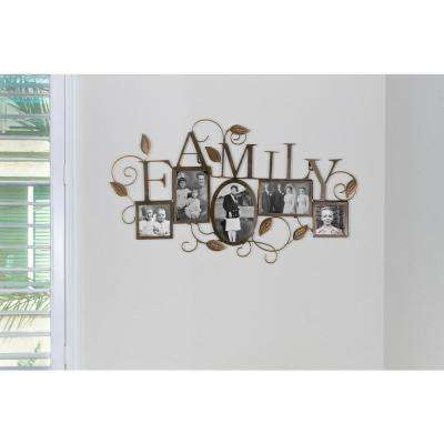 Family Vine 5 slot Collage 4 in. x 4 in., 4 in. x 6 in., and 5 in. x 7 in. Antique Gold Wall Picture Frame