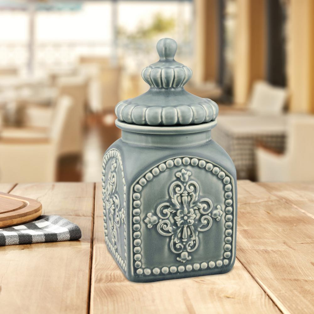 Stonebriar Collection 5 In X 10 Matte Denim Decorative Canister