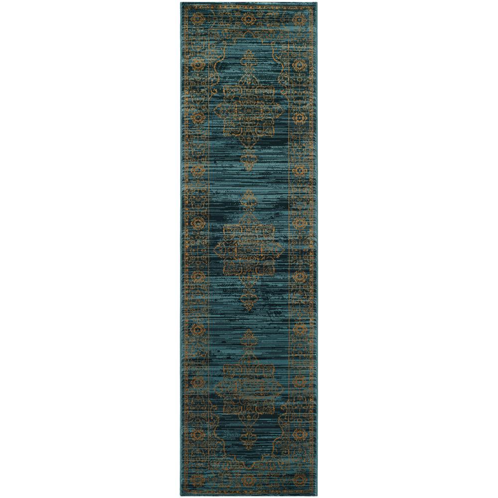 Serenity Turquoise/Gold 2 ft. 3 in. x 10 ft. Runner