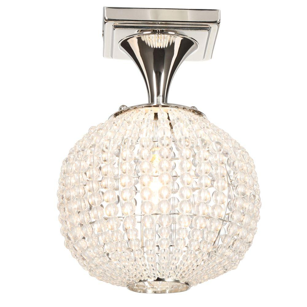 Hampton Bay Bellefont 1 Light Polished Nickel Crystal Ball Semi Flush Mount