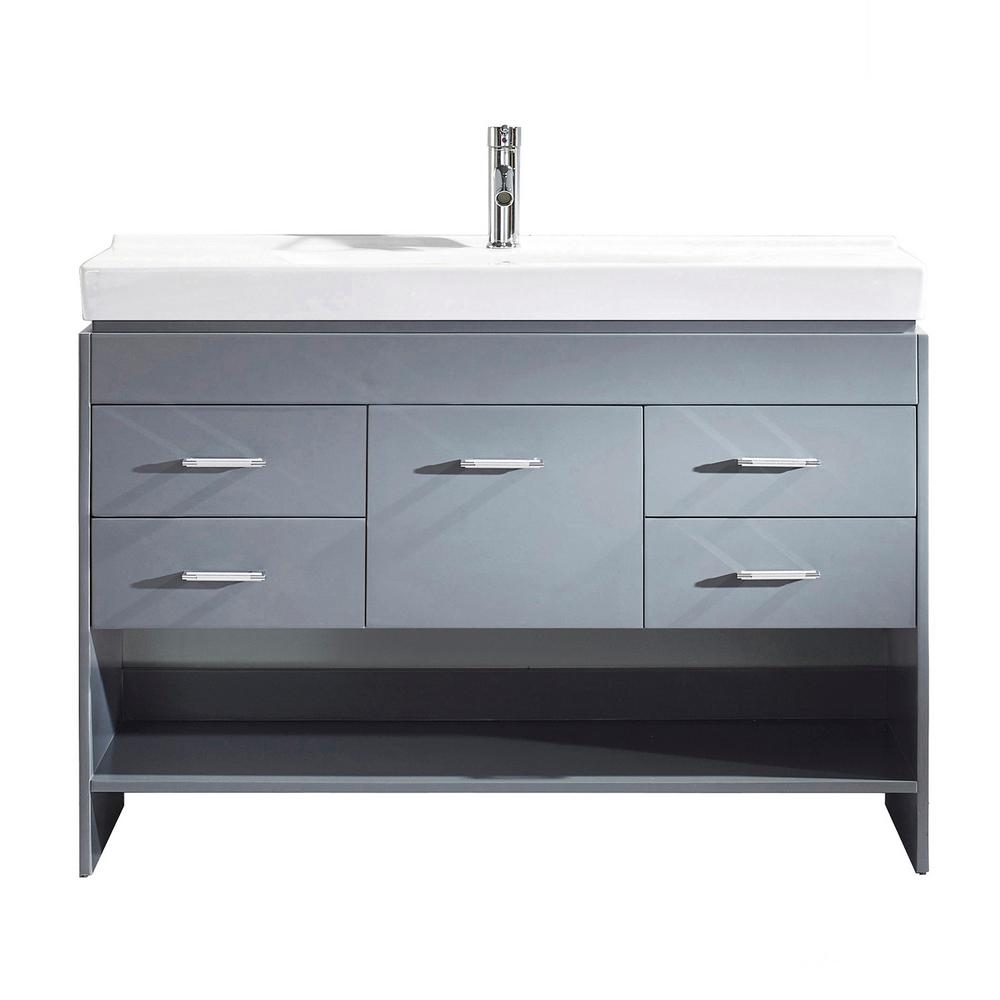 Virtu USA Gloria 48 in. W Bath Vanity in Gray with Ceramic Vanity Top in White Ceramic with Square Basin and Faucet