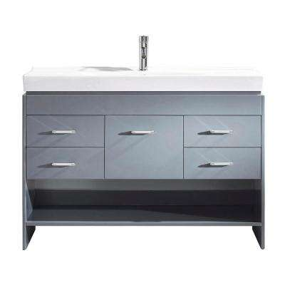 Gloria 48 in. W Bath Vanity in Gray with Ceramic Vanity Top in White Ceramic with Square Basin and Faucet