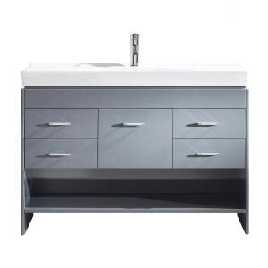 Virtu USA Gloria 48 inch W x 18 inch D Single Vanity in Gray with Ceramic Vanity Top in White with White Basin by Virtu USA