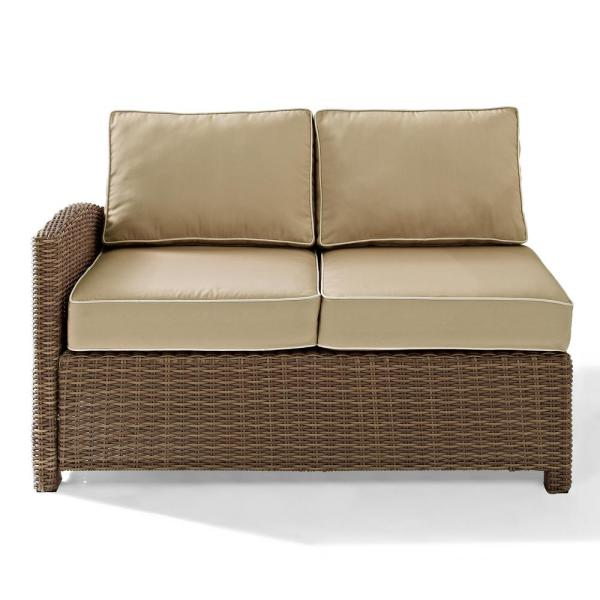 Bradenton Wicker Corner Outdoor Sectional Chair with Sand Cushions