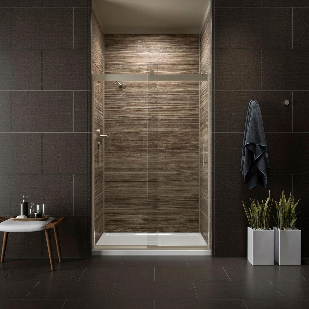 Kohler Levity 48 In X 74 Semi Frameless Sliding Shower Door Bronze With Handle