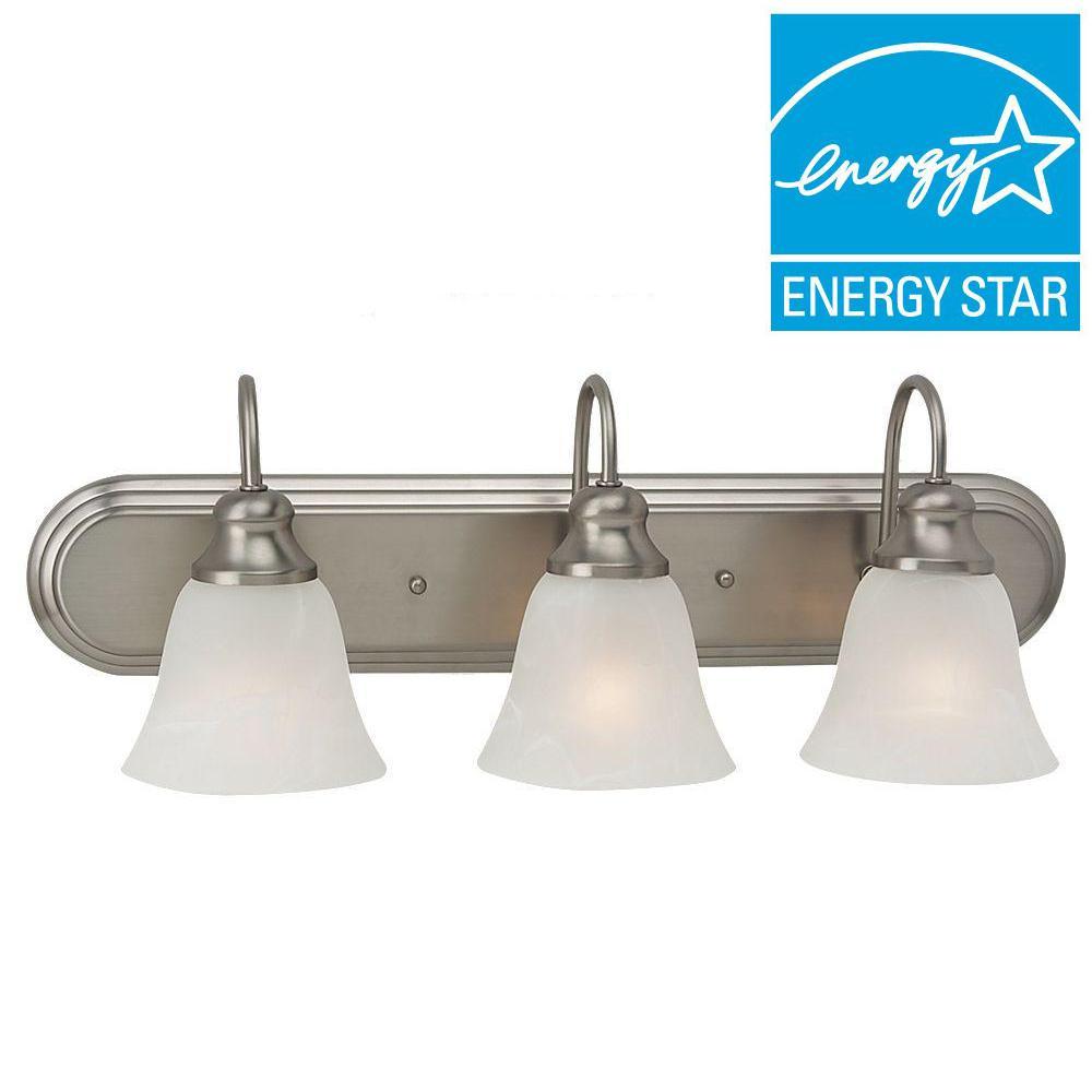 Fluorescent vanity lighting lighting the home depot windgate 3 light brushed nickel vanity light aloadofball Gallery