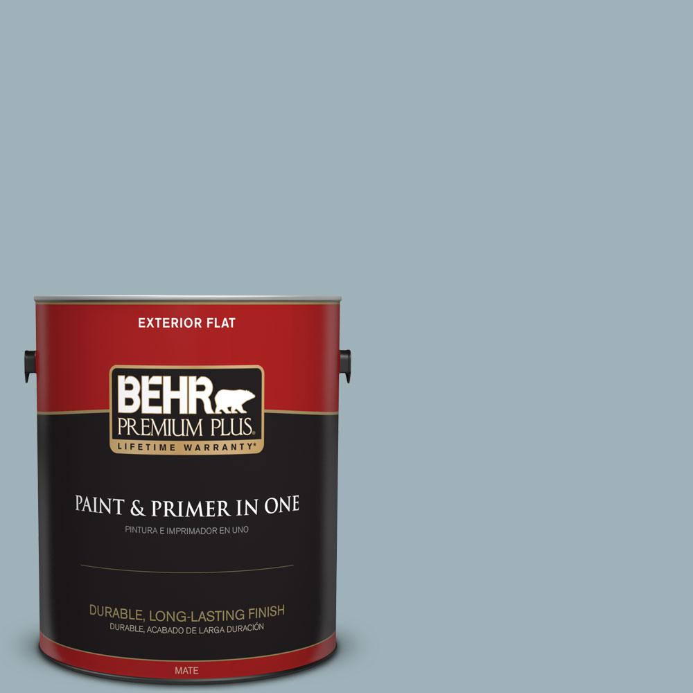 BEHR Premium Plus 1-gal. #540E-3 Blue Fox Flat Exterior Paint