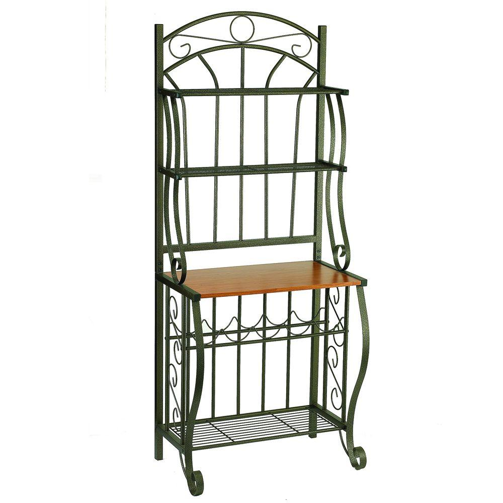 Old Dutch 68 in. x 16 in. x 27.25 in. Copper Bakers Rack with Wine Rack