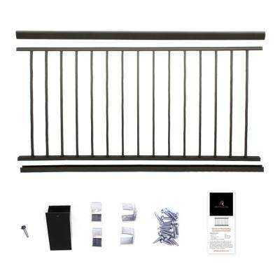 Powder Coated Aluminum Preassembled Deck Railing 36 in. x 8 ft. - Black