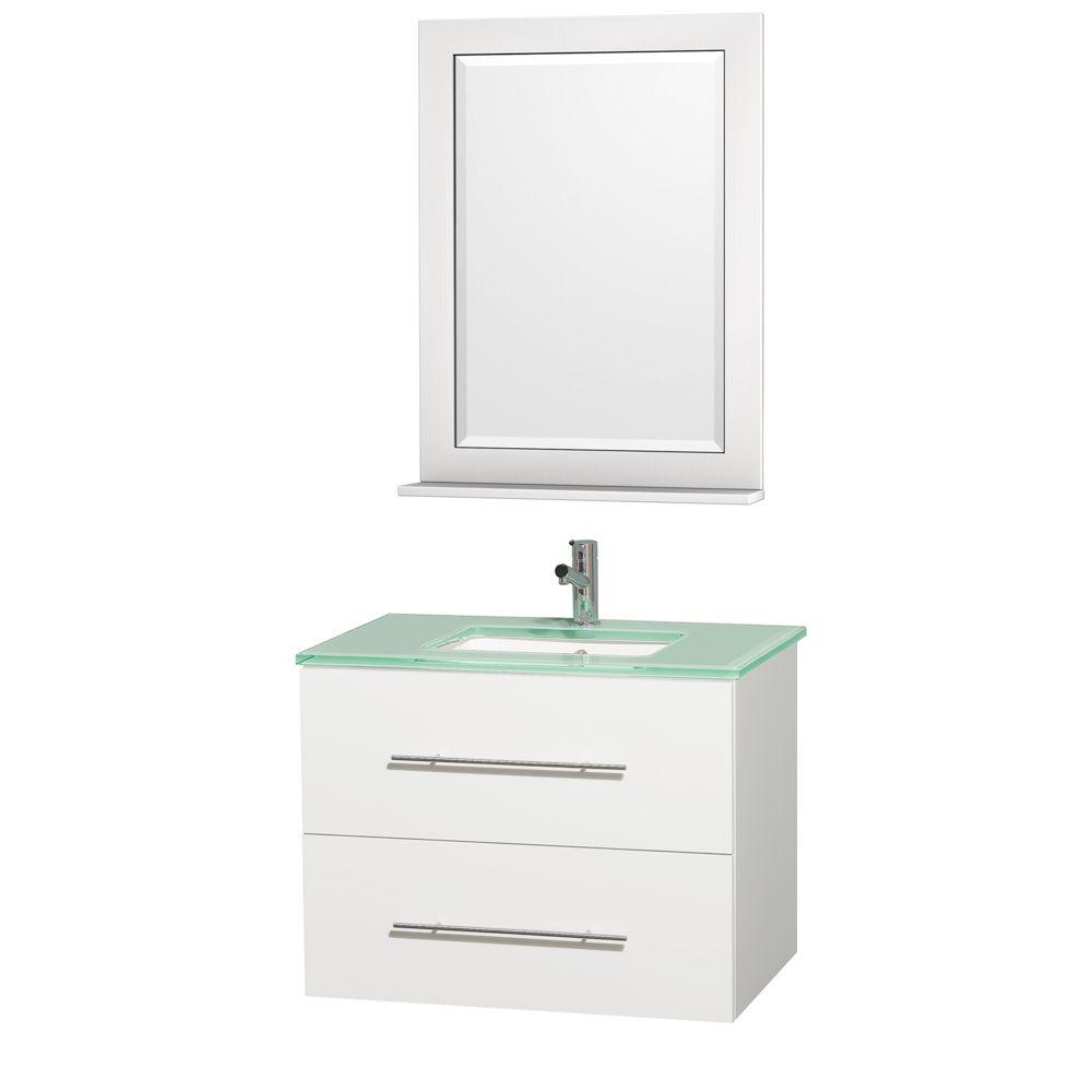 Wyndham Collection Centra 30 in. Vanity in White with Glass Vanity Top in Aqua and Square Porcelain Undermounted Sink