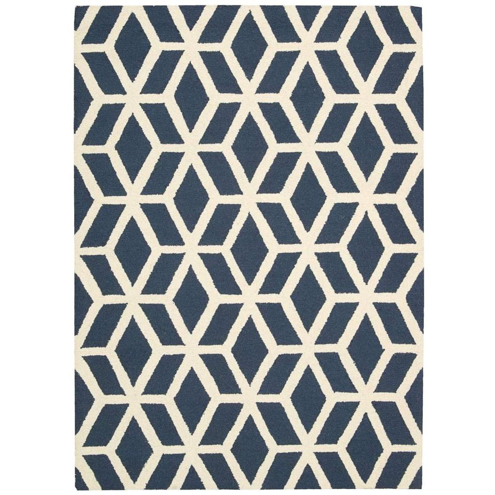 Nourison Linear Blue/Ivory 8 ft. x 11 ft. Area Rug