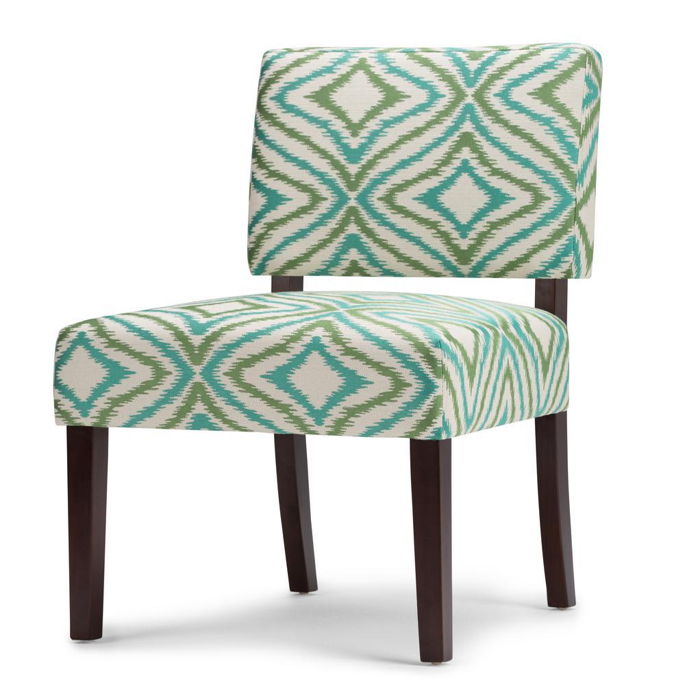 Virginia Green Fabric Slipper Chair