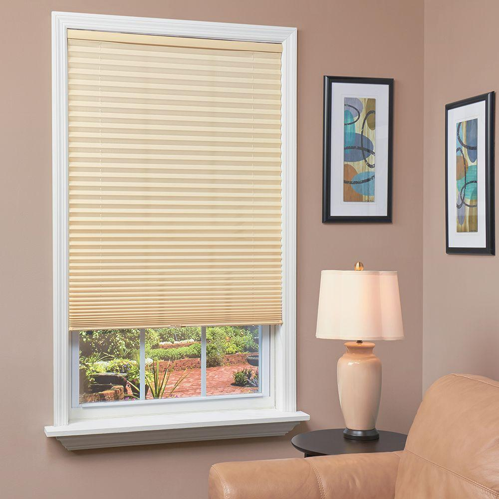 homeBASICS Ivory 1 in. Light Filtering Cordless Pleated Shade - 43 in. W x 64 in. L