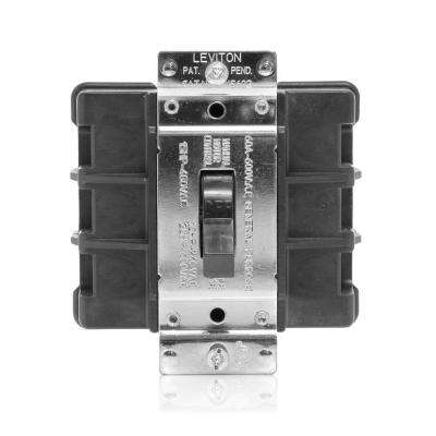 60 Amp 600 Volt Industrial Grade Three Pole Three Phase AC Manual Motor Controller Toggle Switch - Black