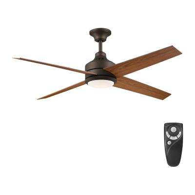Mercer 56 in. Integrated LED Indoor Oil Rubbed Bronze Ceiling Fan with Light Kit works with Google Assistant and Alexa