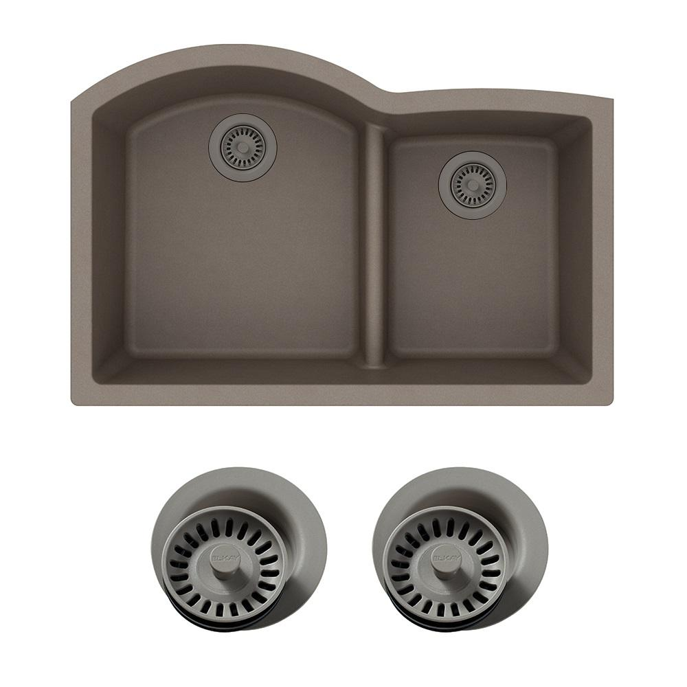 elkay quartz classic undermount composite 33 in rounded offset rh homedepot com different color kitchen sinks copper color kitchen sinks