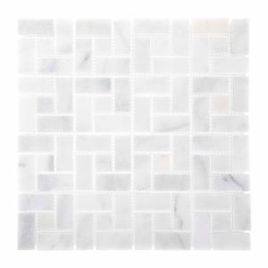 Ice Blocks 11.875 in. x 11.875 in. White Honed Marble Wall and Floor Mosaic Tile (0.979 Sq.Ft./Each)