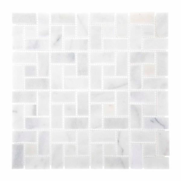 Ice Blocks 12 in. x 12 in. x 10 mm White Honed Marble Mosaic Floor and Wall Tile