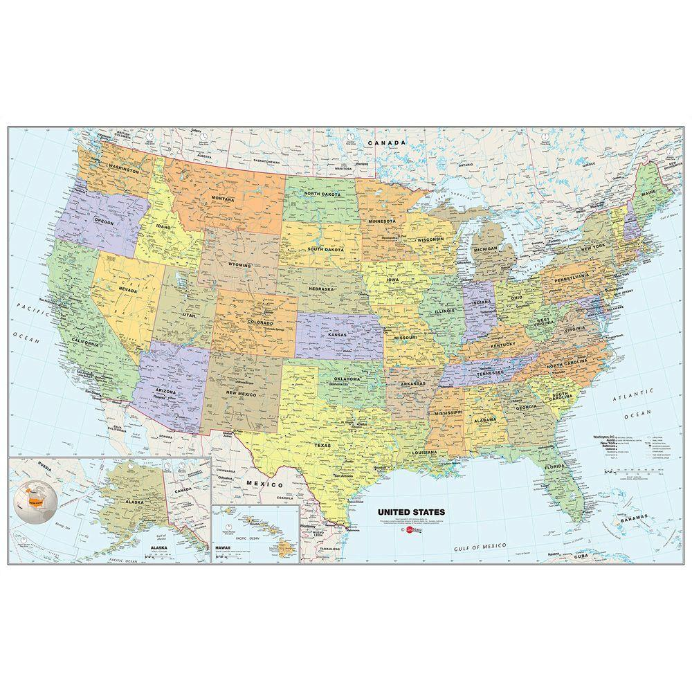 Wall Pops 24 in. x 36 in. Dry Erase USA Map Wall Decal-WPE99073 ...