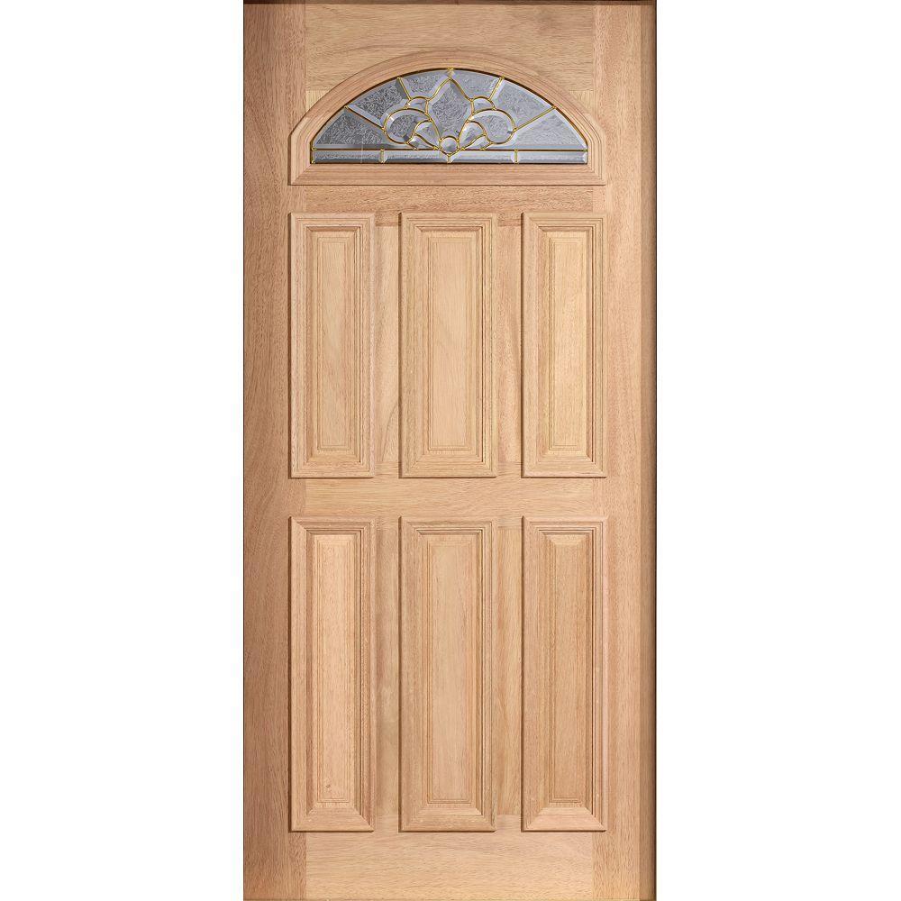 Main Door 36 in. x 80 in. Mahogany Type Unfinished Beveled Brass Fanlite Glass Solid Wood Front Door Slab