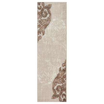 Infinity Light Beige/White 2 ft. 1 in. x 7 ft. 5 in. Indoor Runner Rug