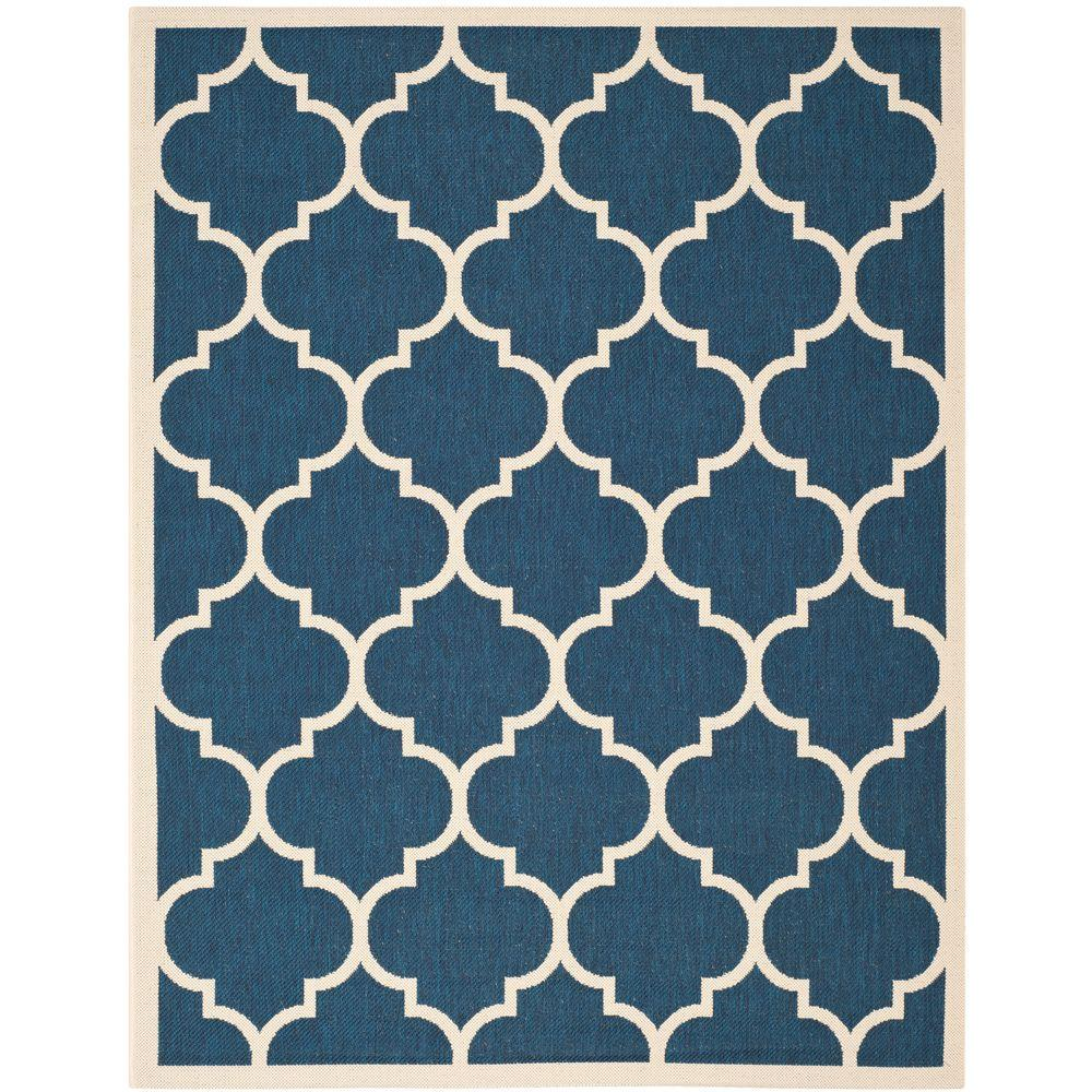 Safavieh Courtyard Navy Beige 8 Ft X 11 Ft Indoor
