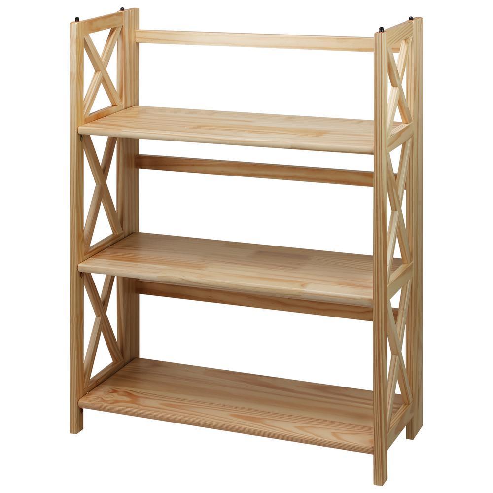Casual Home X-Design Natural 3-Shelf Folding Bookcase-301 ...
