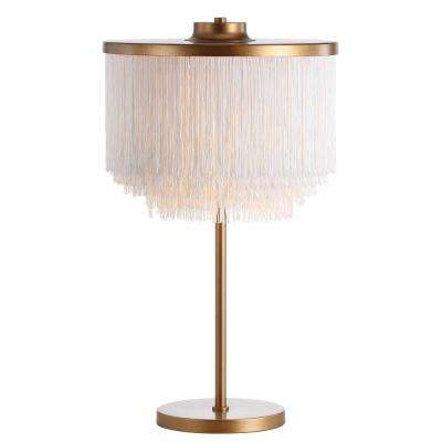 Coco 27.5 in. Gold/White Fringed/Metal LED Table Lamp