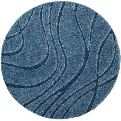 Florida Shag Light Blue/Blue 6 ft. 7 in. x 6 ft. 7 in. Round Area Rug