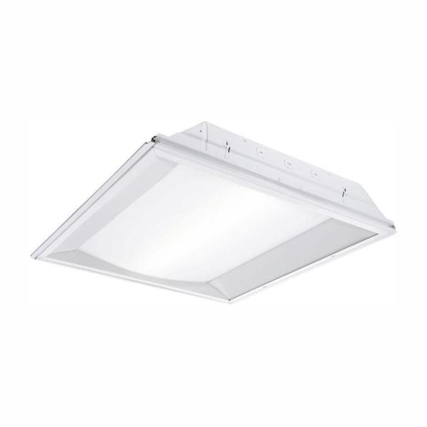 2 ft. x 2 ft. White Integrated LED Center Basket Drop Ceiling Troffer Light with 3366 Lumens, 4000K
